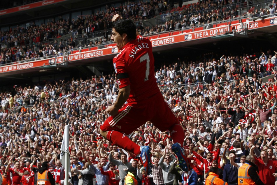 Liverpool039s Suarez celebrates his goal against Everton during their English FA Cup semi-final soccer match in London