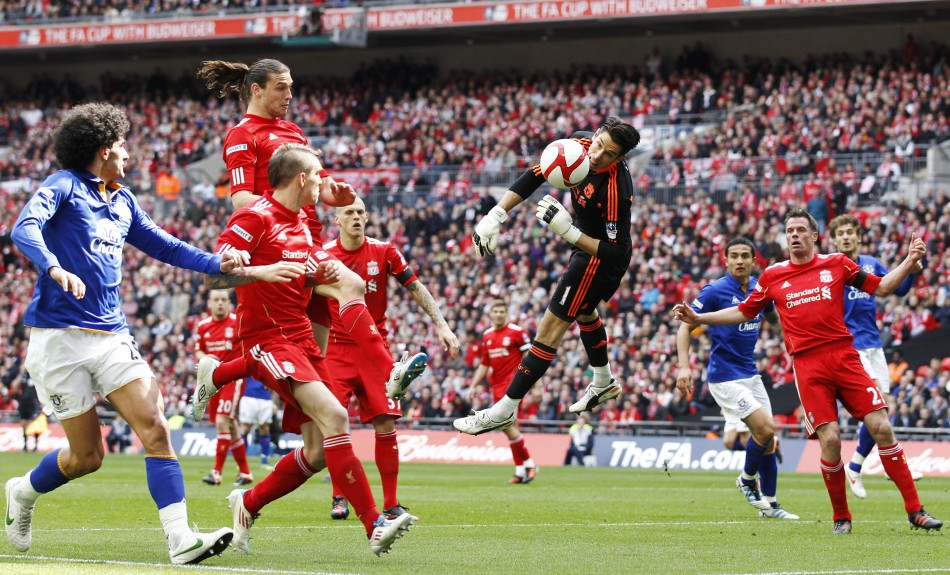 Liverpool039s Jones makes a save during their FA Cup semi-final soccer match against Everton in London