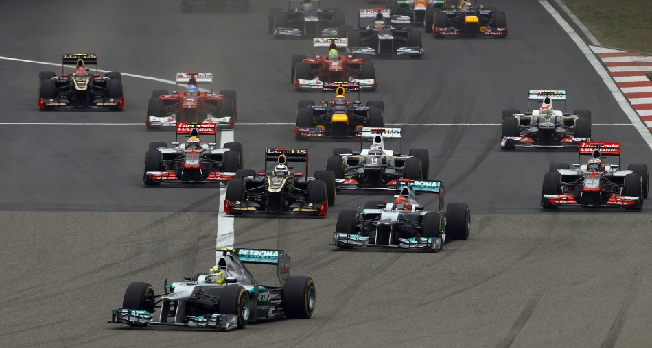 Mercedes Formula One driver Rosberg leads at the start of the Chinese F1 Grand Prix at Shanghai International circuit