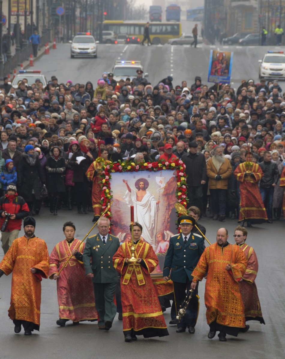 Orthodox priests lead an Easter procession in Russia's far Eastern port of Vladivostok