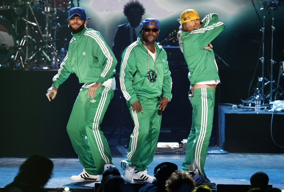 Kid Rock performs with Black Thought and Travie McCoy after the Beastie Boys were inducted into the Rock n' Roll Hall of Fame in Cleveland, Ohio