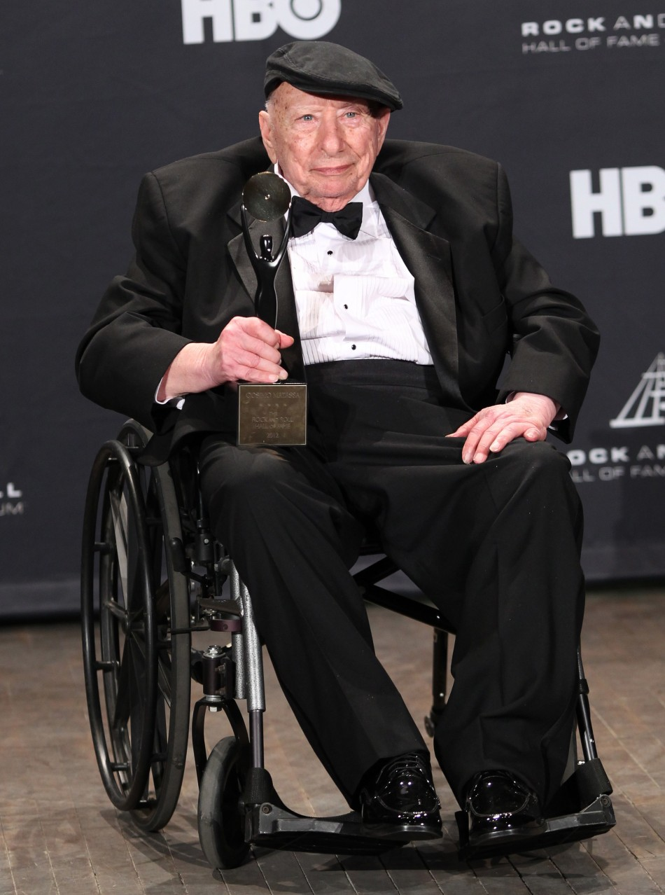 Italian-American recording engineer Cosimo Matassa accepts a Musical Excellence Award during the 2012 Rock n' Roll Hall of Fame induction ceremony in Cleveland, Ohio