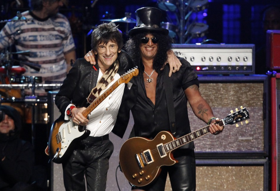 Ronnie Wood and Slash perform during the finale of the 2012 Rock n' Roll Hall of Fame induction ceremony in Cleveland, Ohio