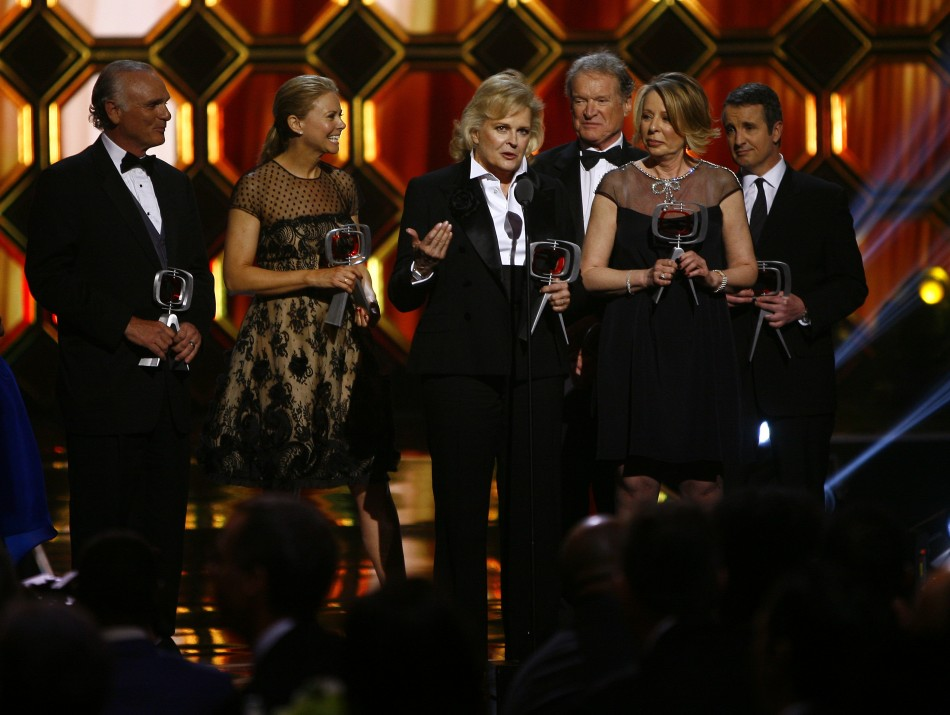 Actors Joe Regalbuto, Faith Ford, Candice Bergen, Charles Kimbrough, Murphy Brown creatorexecutive producer Diane English and Grant Shaud accept an award during the 10th Anniversary TV Land Awards in New York