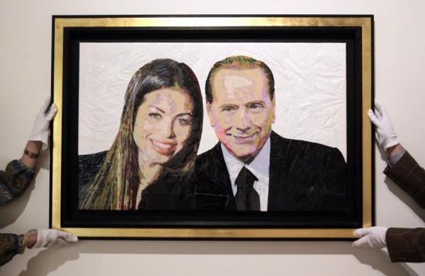 Former Italian Prime Minister Silvio Berlusconi with Moroccan dancer Karima el-Mahroug, aka Ruby the Heartstealer, in portrait made of bin bags