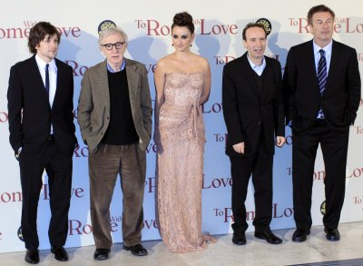 U.S. director Woody Allen and cast members pose during the premiere of the film quotTo Rome with Lovequot in Rome