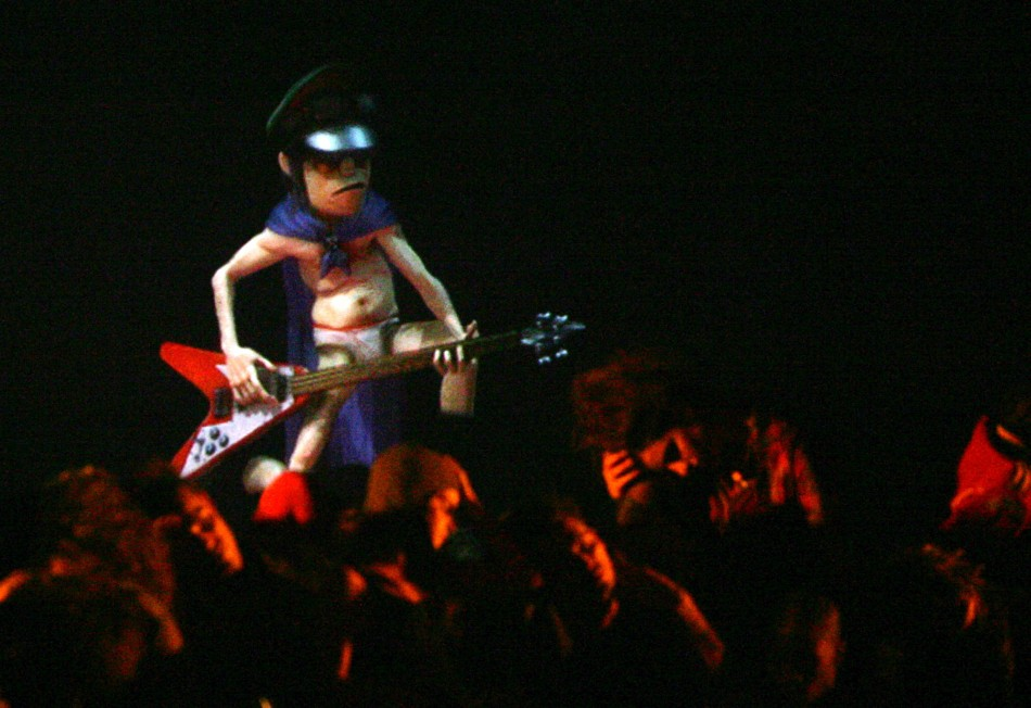 Holographic representation of member of pop group Gorillaz performs on stage during performance at MTV Europe Music Awards 2005 in Lisbon, where Gorillaz received best group award