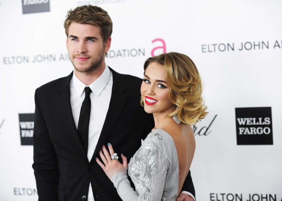 Miley Cyrus with fiance Liam Hemsworth