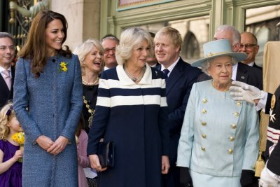 Queen Elizabeth II, Queen Camilla and Kate Middleton in 039bluequot