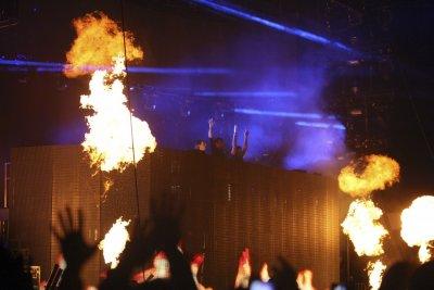The electronic trio Swedish House Mafia perform at the 2012 Coachella Valley Music and Arts Festival in Indio