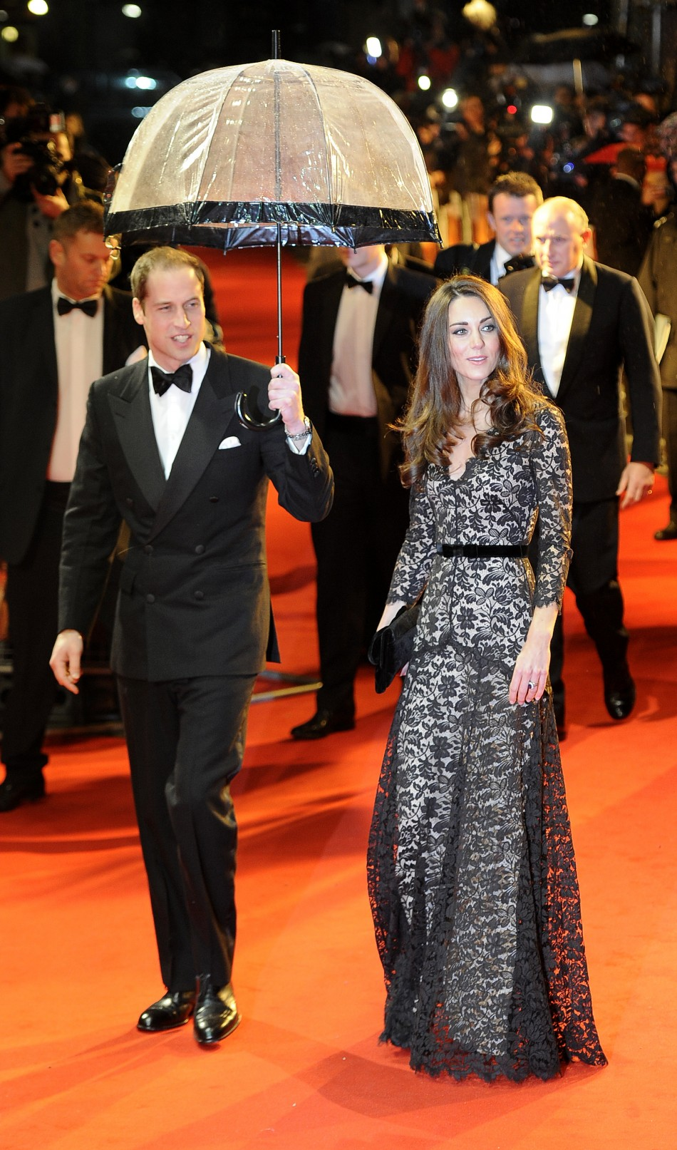 Britains Prince William arrives with Catherine, Duchess of Cambridge to the UK premiere of the film War Horse in London