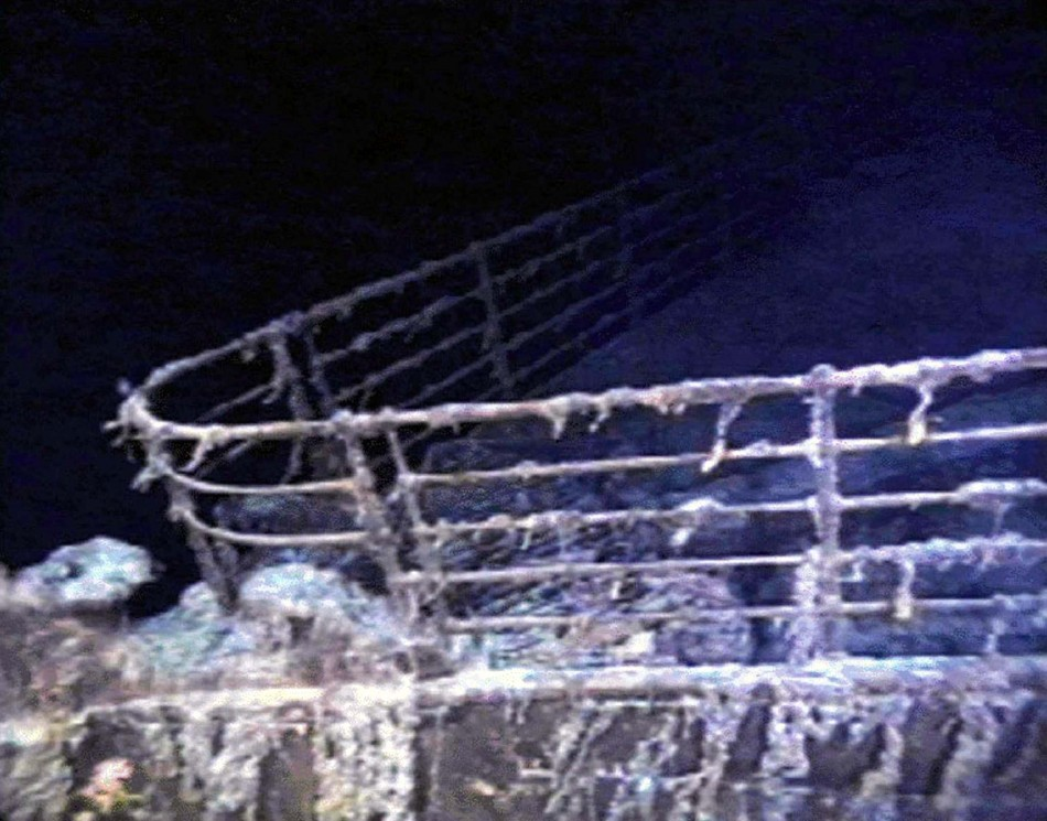 The port bow railing of the RMS Titanic lies in 12,600 feet of water about 400 miles east of Nova Scotia