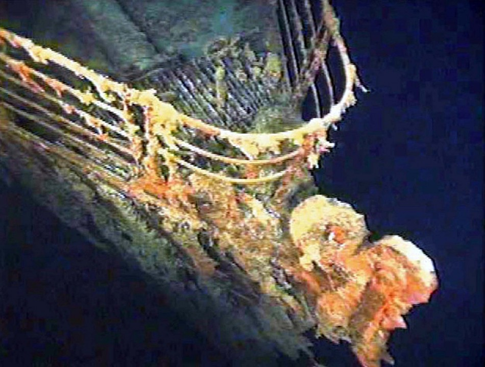 The port bow railing of the Titanic lies in 12,600 feet of water about 400 miles east of Nova Scotia