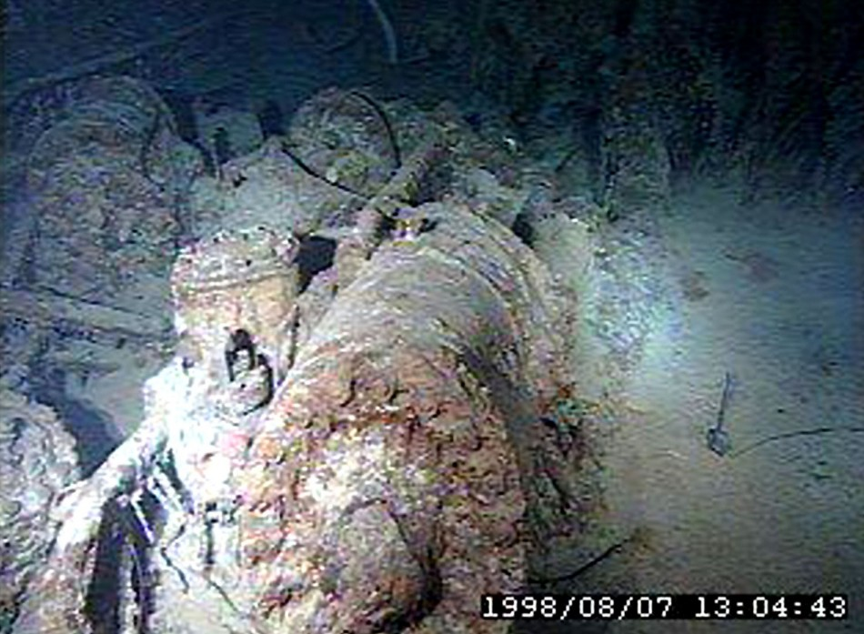 Wreckage from the Titanic lies on the bottom of the Atlantic Ocean as viewed