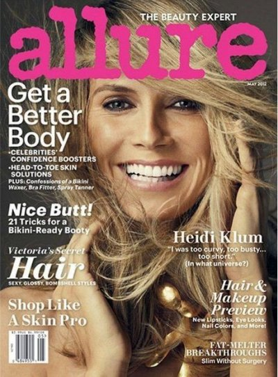 Heidi Klum on the cover of Allure magazines May 2012 issue.