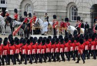 Britain's Queen Elizabeth takes the salute on Horse Guards Parade during the Trooping the Colour ceremony in central London
