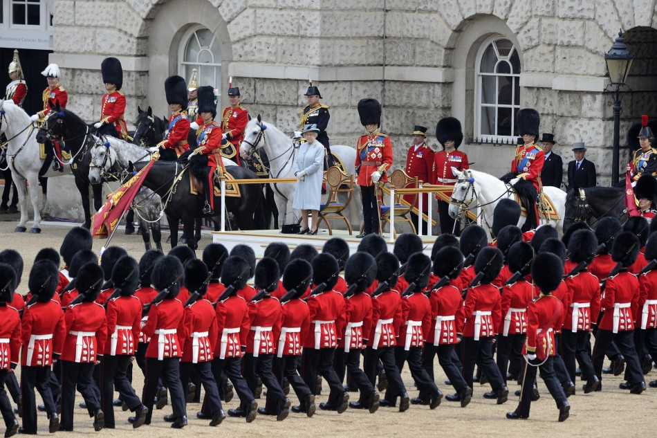 Britain039s Queen Elizabeth takes the salute on Horse Guards Parade during the Trooping the Colour ceremony in central London