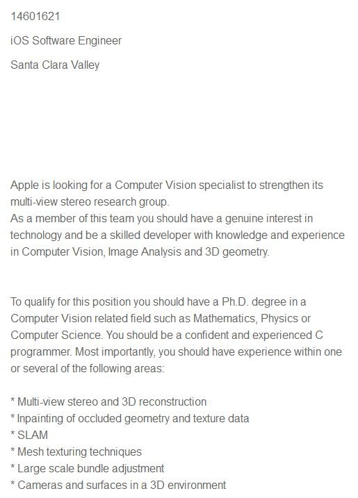 Apple Job Listing Hints At 3D Technology For Future iOS Devices
