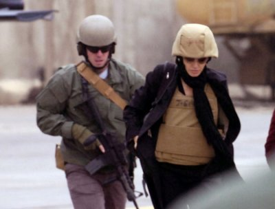Actress Angelina Jolie visits the Green Zone in Baghdad