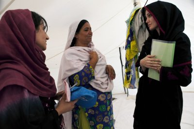 Actress Angelina Jolie visits internally displaced people at Kandaro II Camp in Nowshera