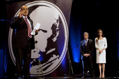 Founder of Yemen039s SHS Al-Hamairy speaks after receiving Nansen prize from Angelina Jolie in Geneva
