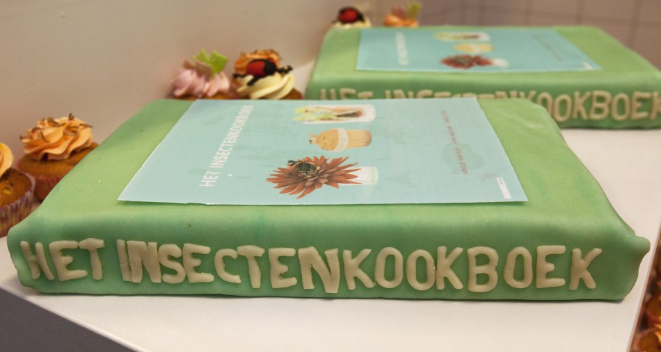 A cake filled with edible insects in the shape of the cookbook 'The Insect Cookbook' (Reuters)
