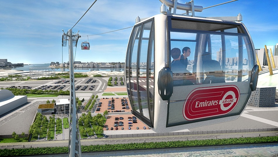 Tfl representation of completed Emirates Air Line across Thames