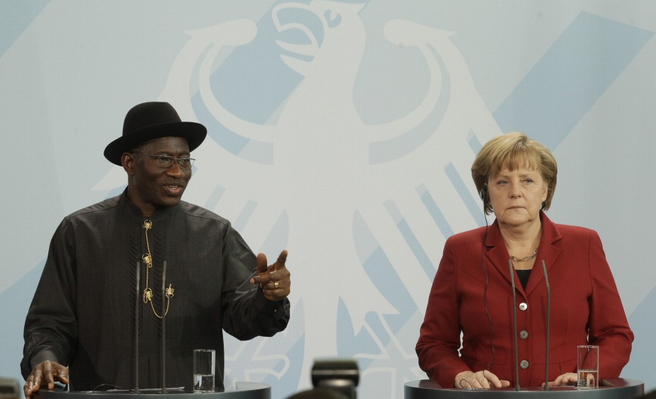German Chancellor Angela Merkel and Nigerian President Goodluck Jonathan address media following talks in Berlin