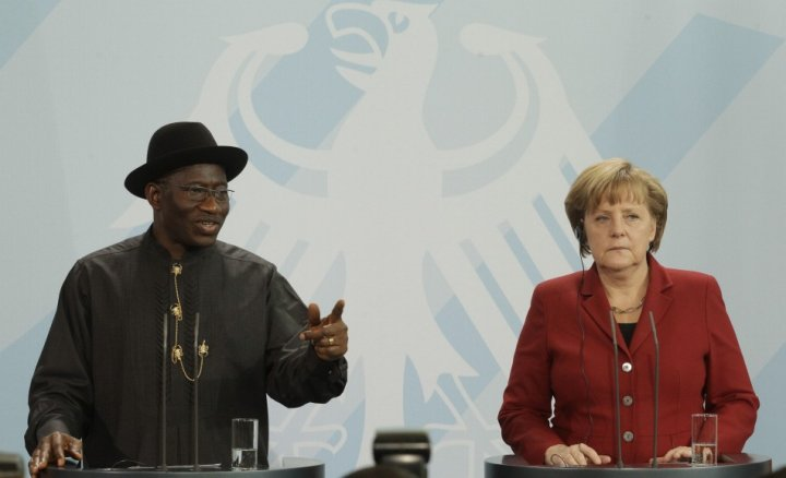 German Chancellor Angela Merkel and Nigerian President Goodluck Jonathan address media following talks in Berlin