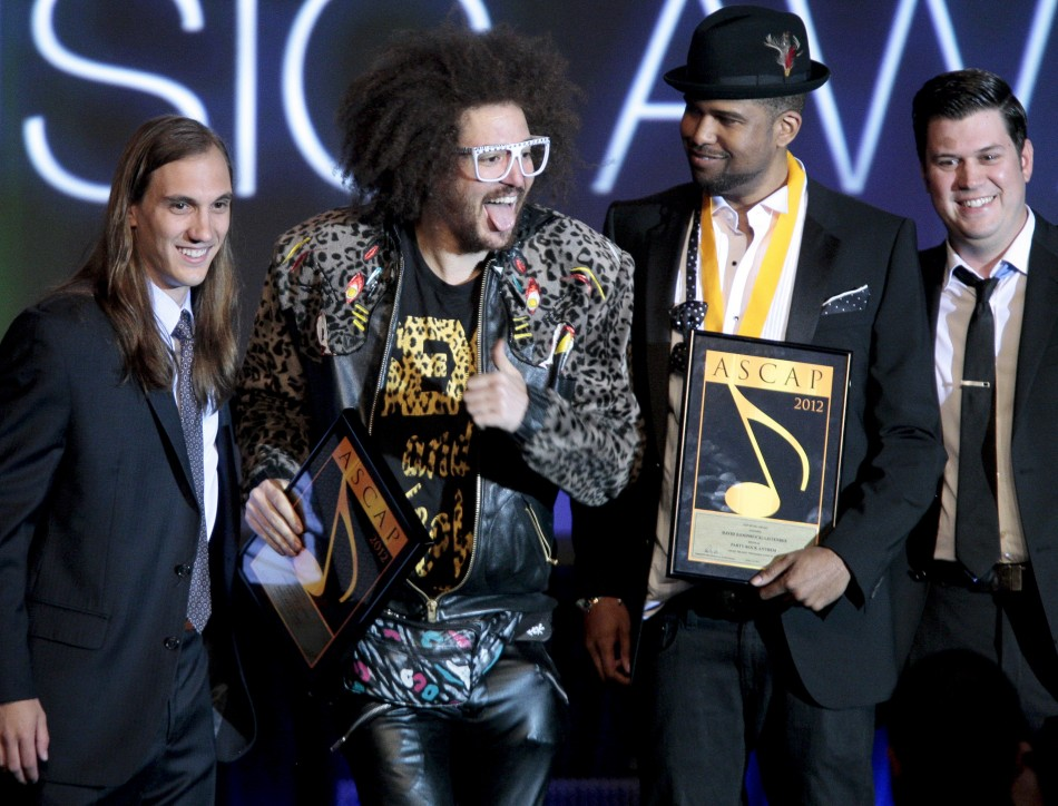 "Musicians Redfoo and Goonrock accept an award for ""Party Rock Anthem"" for being among the most performed songs at the 29th Annual ASCAP Pop Music Awards in Hollywood"