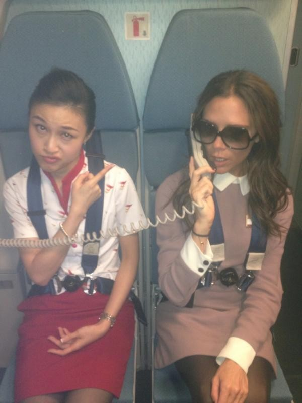 Victoria as flight attendant
