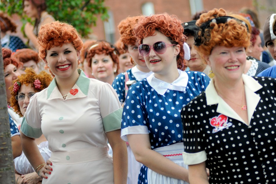 Women take part in an attempt to set a new Guinness world record for most Lucy Ricardo lookalikes assembled in one place, in Jamestown