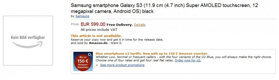 Samsung Galaxy S3 Preorder Occurs on Amazon Germany?