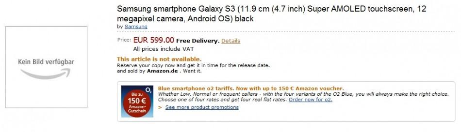 Samsung Galaxy S3 preorder occurs on Amazon's German site?