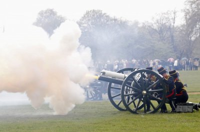 Gunners from the King039s Troop Royal Horse Artillery fire a forty-one gun salute in Hyde Park, central London