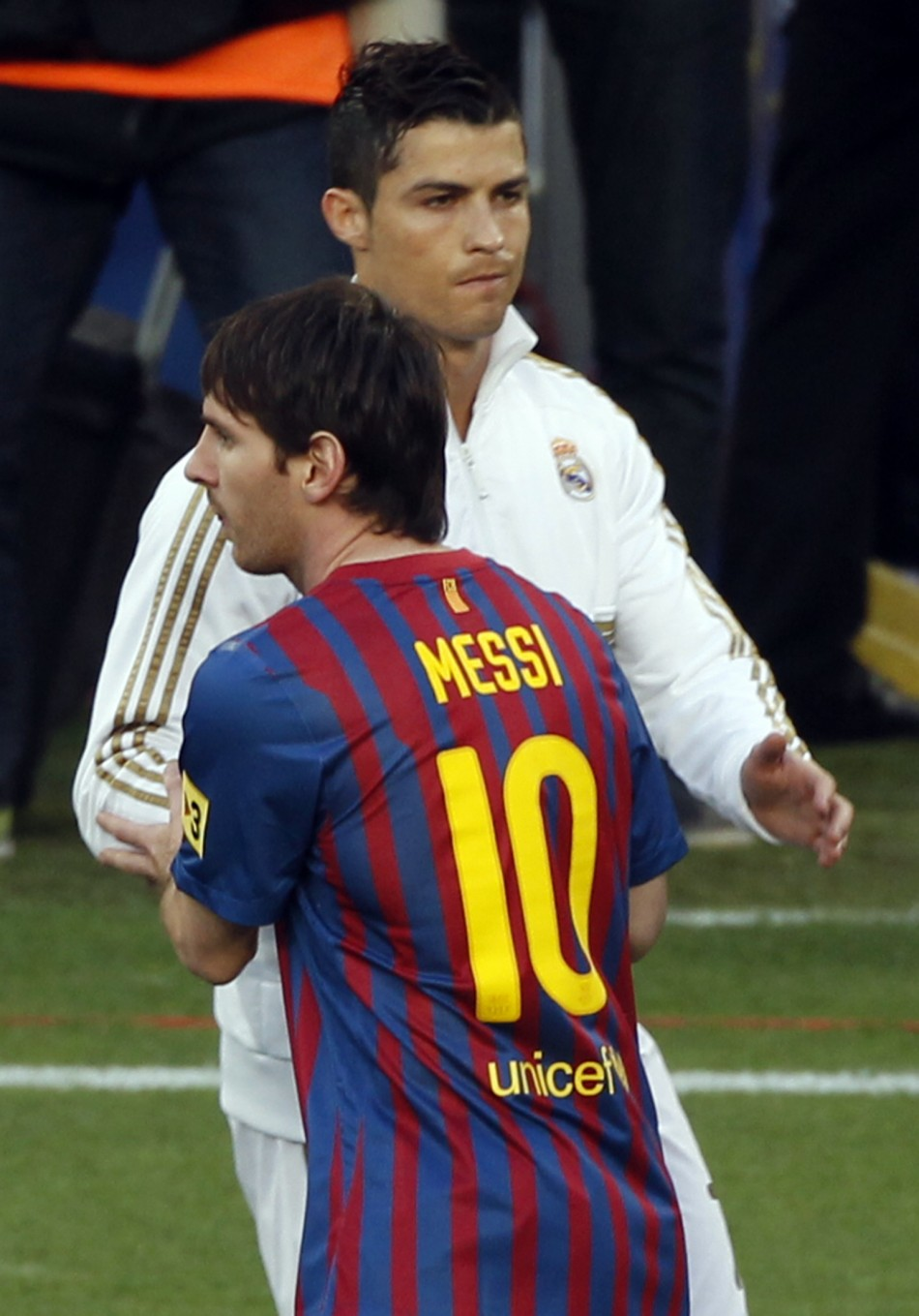 Barcelona039s Lionel Messi greets Real Madrid039s Ronaldo before their Spanish first division quotEl Clasicoquot soccer match