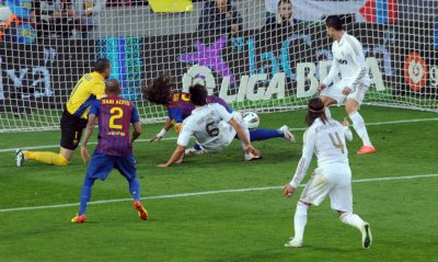 Real Madrid039s Khedira scores a goal agaisnt Barcelona during their Spanish first division quotEl Clasicoquot soccer match