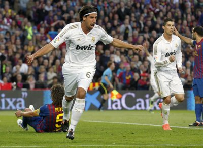 Real Madrid039s Khedira celebrates after scoring against Barcelona during their Spanish first division soccer match in Barcelona