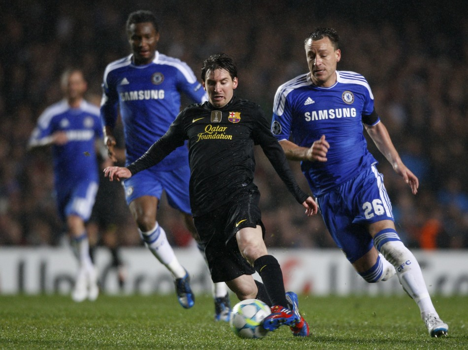 Chelsea players run after Lionel Messi