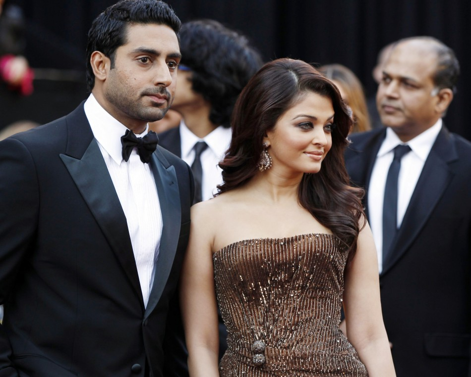 Bollywood actors Aishwarya Rai and Abhishek Bachchan arrive at the Academy Awards in Hollywood
