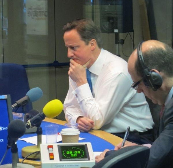 David Cameron appearing on the Radio 4's The Today Show with Nick Robinson (Twitter/bbcr4today)