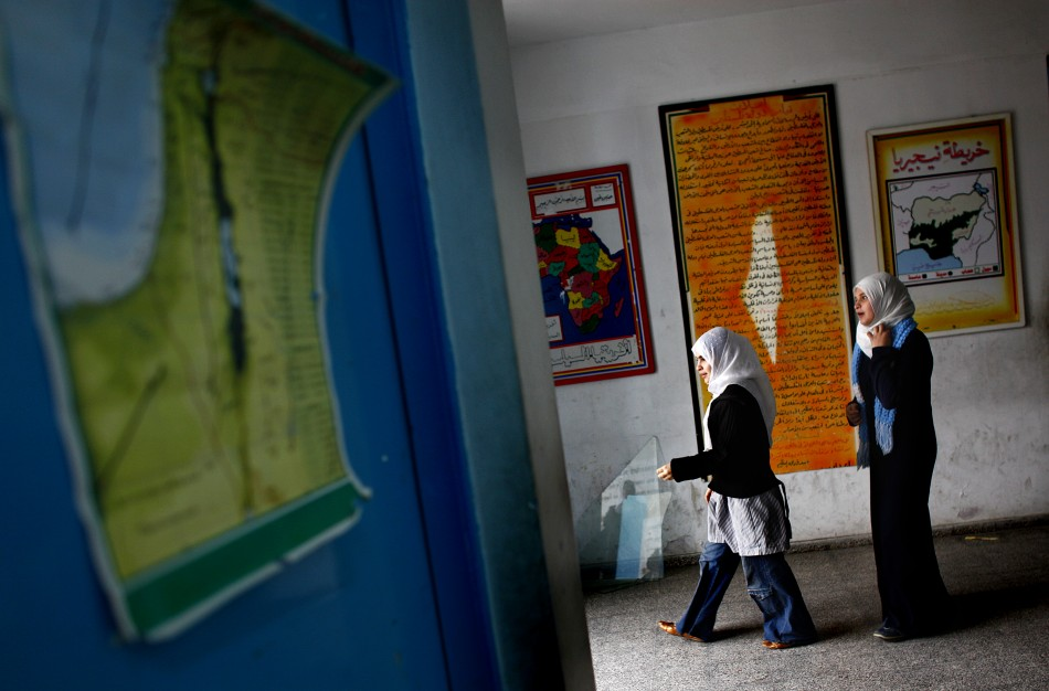 Palestinian girls in a preparatory school building in Gaza