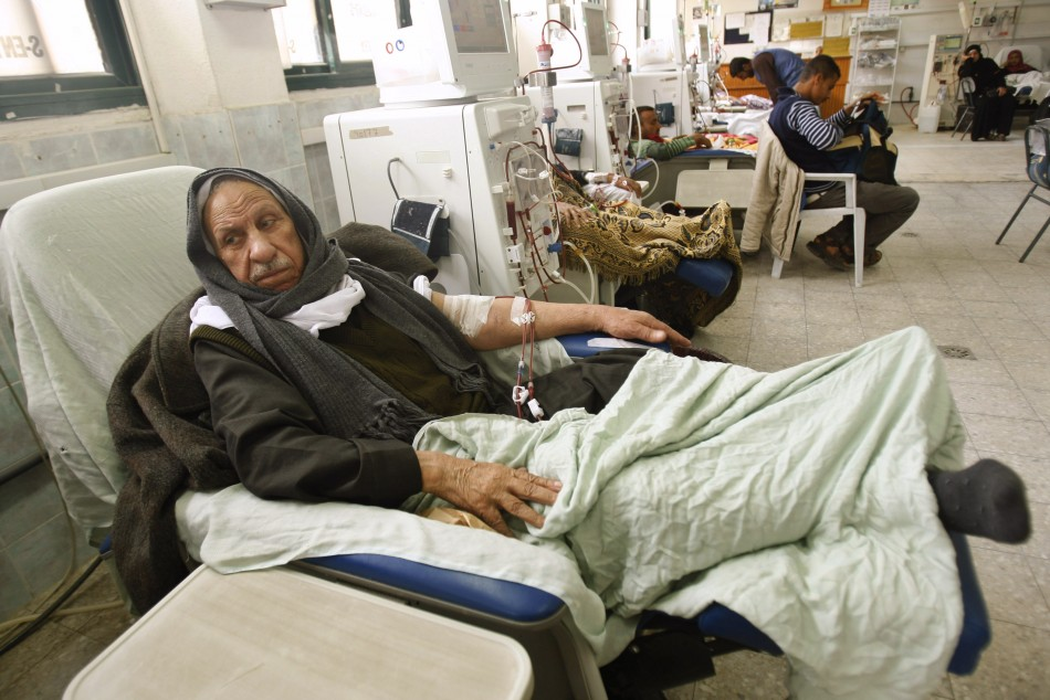 Palestinian man receives kidney dialysis treatment at hospital in southern Gaza Strip