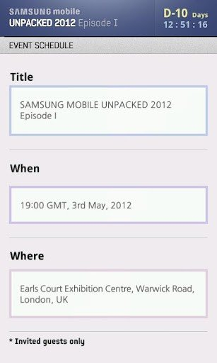 Samsung Galaxy S3 Pops Up in Unpacked 2012 App