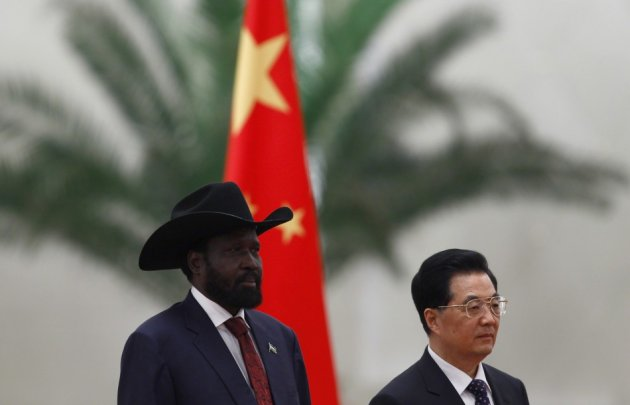 South Sudanese President Salva Kiir meets with Chinese counterpart, Hu Jintao, on visit to Beijing