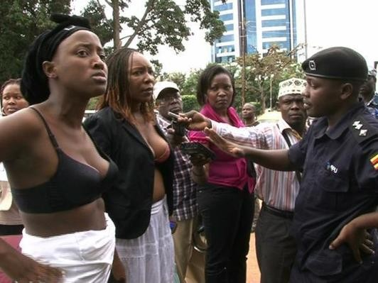 A group of Ugandan women stripped to their bras to protest against the alleged sexual assault of Ingrid Turinawe