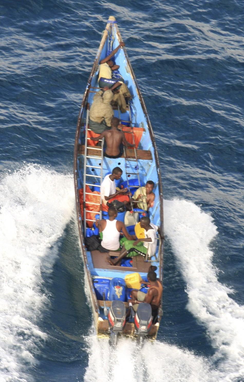 Suspected pirate skiff off coast of Somalia's northern port town of Bossaso