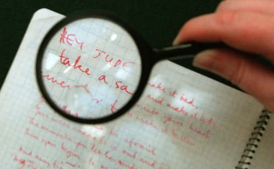 A NOTEBOOK CONTAINING LYRICS BY PAUL MCCARTNEY GOES ON SALE IN LONDON.