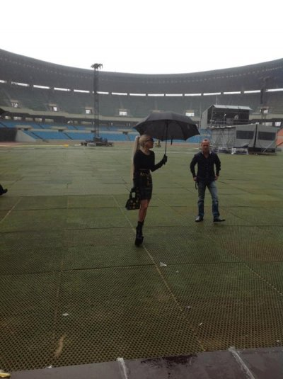 Lady Gaga at the venue of her concert