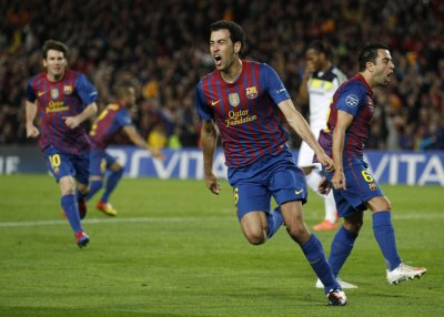 Barcelona039s Busquets celebrates after scoring against Chelsea during their Champions League soccer semi-final in Barcelona